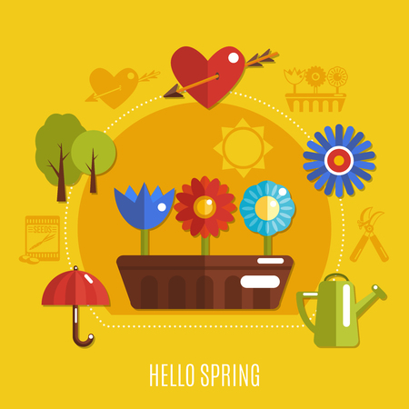Bright colorful spring concept with blooming flowers heart with arrow and gardening tools on yellow background flat vector illustration