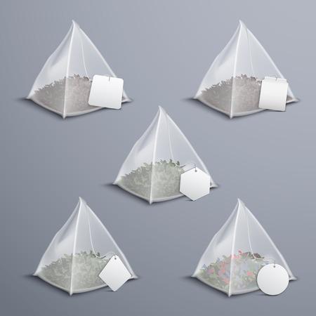 ●葉全体シルキーナイロンピラミッドリアルティーバッグコレクション各種白いブランクタグベクトルイラスト付き