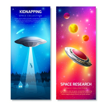 Alien spaceship vertical banners with kidnapping of person on night sky background, space research isolated vector illustration