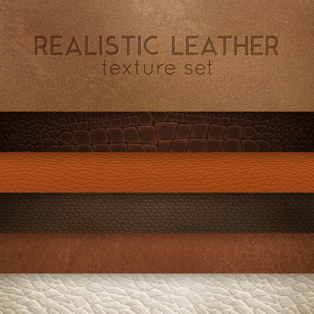 Close-up leather textures samples for furniture upholstery  and interior design horizontal realistic stripes set vector illustration Stock Illustratie
