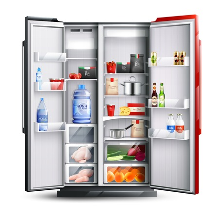 Open refrigerator with two red and black doors full of fresh products in realistic style isolated vector illustration   Stock Illustratie
