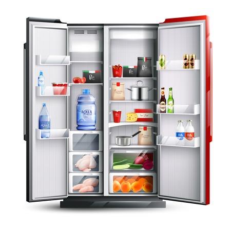 De open ijskast met twee rode en zwarte deurenhoogtepunt van verse producten in realistische stijl isoleerde vectorillustratie