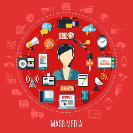 Médias de masse concept design rond avec des éléments de journalisme classique et Internet sur illustration vectorielle plane fond rouge Vecteurs