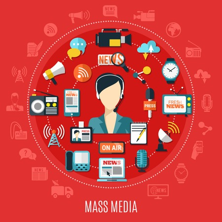 Mass media round design concept with elements of classic and Internet journalism on red background flat vector illustration