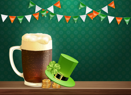Saint patricks holiday composition with glass mug of beer, hat of leprechaun, coins, wooden table vector illustration