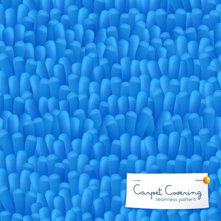Blauw ruwharig langpolig tapijtdeken die textuur realistisch naadloos patroon behandelen met decoratief gespelde etiket vectorillustratie