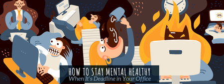 Office work and deadline poster with mental health symbols flat vector illustration