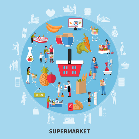 Supermarket round composition on blue background with seller, customers, equipment, food products, goods with discount vector illustration