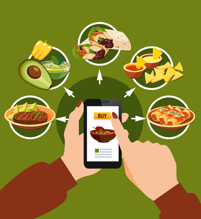 Mexican food buying online composition on green background with smartphone in hands, traditional dishes vector illustration Çizim