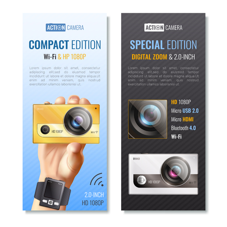 Action camera vertical banners set with compact edition symbols realistic isolated vector illustration Imagens - 94569852