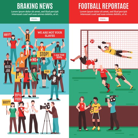 Set of vertical banners with breaking news about protest action and football reportage isolated vector illustration Illustration