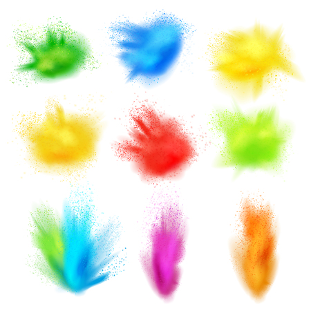 Holi paint set of realistic splashes isolated images of colored paint dust clouds on blank background vector illustration