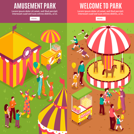Isometric amusement park circus vertical banners collection with isolated text more button and enterteinment park scenery compositions vector illustration Illustration