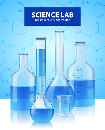 Scientific laboratory equipment realistic test-tubes retorts collection with blue reagent and background poster vector illustration