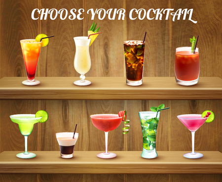 Drinks realistic composition with two shelves and various cocktail glasses of different shape and colour ingredients vector illustration Çizim