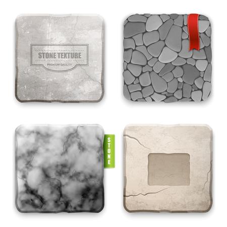 현실적인 4 평방 돌 질감 유형 샘플 내부 및 외부 벽 장식 격리 된 벡터 일러스트 레이 션에 대 한 설정