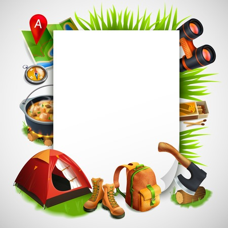 Camping realistic frame with consisting of rectangle and elements of tourist equipment vector illustration Illustration