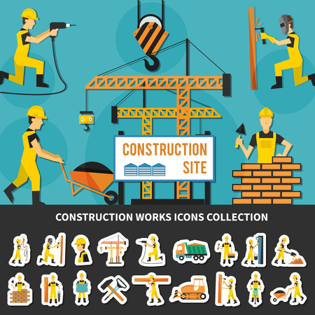 Colored construction worker flat concept with icon set combined in construction site composition vector illustration Illustration