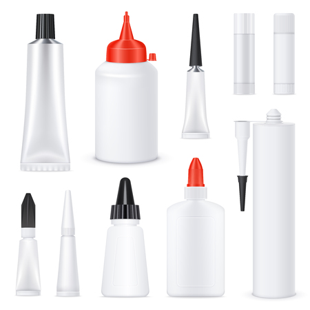 Glue black red white nozzles on white blank bottles tubes sticks realistic templates set isolated vector illustration