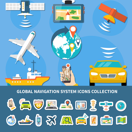 Collection of isolated global navigation system icons with composition of flat images of equipped vehicles and devices vector illustration 向量圖像