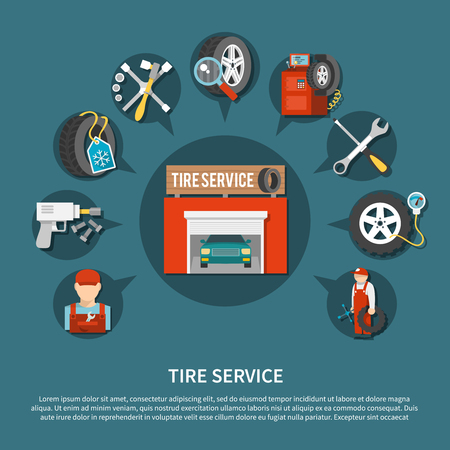 Tire service tools for repairing vehicles and various car parts flat concept vector illustration