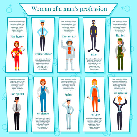 Woman professions infographics with female characters bodyguard, police officer, builder, conductor, cosmonaut on blue background vector illustration