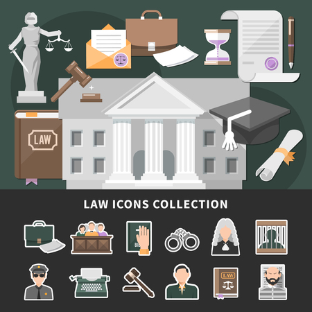 Law icons background with set of isolated emoji style justice icons and flat legal images composition vector illustration
