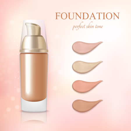 Cosmetic foundation concealer cream color samples realistic commercial advertisement background poster vector illustration  Stock Illustratie
