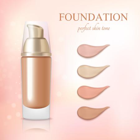 Cosmetische foundation camouflagestift crème kleurstalen realistische commerciële advertentie achtergrond poster vectorillustratie Stock Illustratie