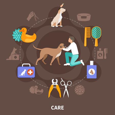 개는 격리 된 의료 장비 수의학 도구 장난감 및 수의사 벡터 일러스트 레이 션의 인간의 문자의 라운드 조성