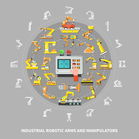 Flat robotic arm industrial composition with industrial robotic arms and manipulators descriptions vector illustration Çizim