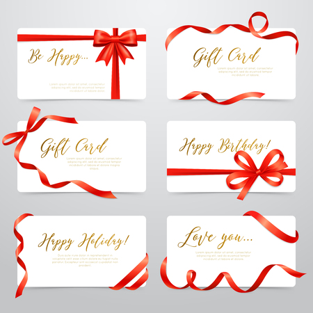 White realistic labels stickers set with luxury gold font letters and red satin ribbon isolated vector illustration