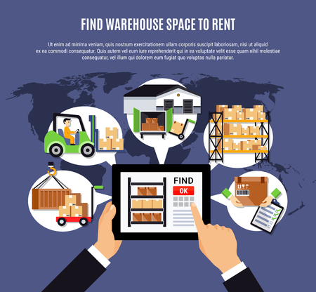 Online search of warehouse for rent  composition on blue background with storehouse operations, world map vector illustration