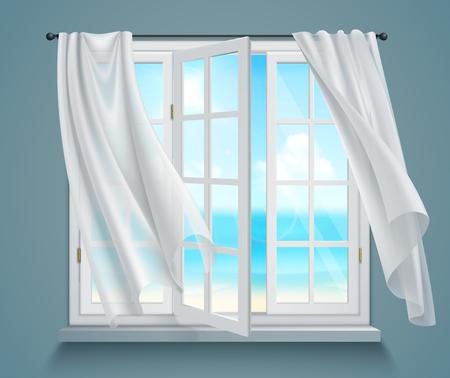 Offenes Fenster mit wogenden weißen Vorhängen und Ansicht über Meer auf Vektorillustration des Hintergrundes 3d des blauen Graus Vektorgrafik