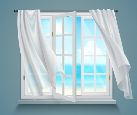 Open window with billowing white curtains and view on sea on blue grey background 3d vector illustration