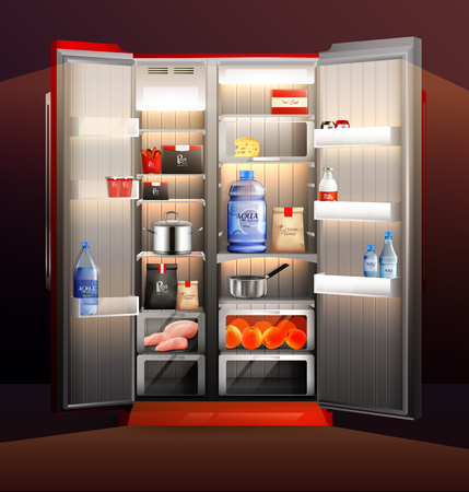 Glowing fridge organization with food products in packaging, cooked meal in pans, fruits, water 3d vector illustration