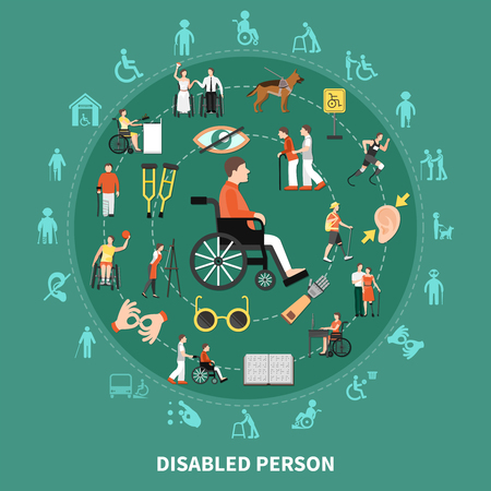 Disabled person round composition with different types of disease combined in big circle vector illustration