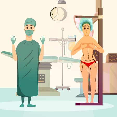 Orthogonal background with surgeon and naked woman with marks on body before plastic operation flat vector illustration