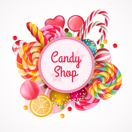 Candy shop round frame background with realistic fruit lollipops with sprinkles, spiral colorful sweets vector illustration