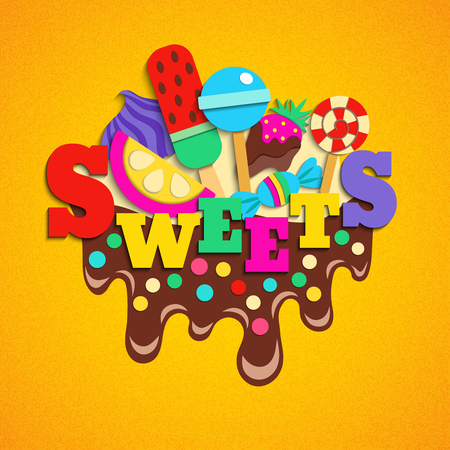 Trendy desserts sweets candies lollies fastfood favorites delicious colorful composition on melted chocolate fudge frosting vector illustration