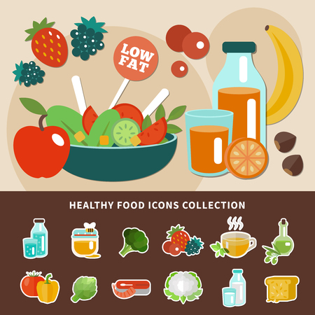 Healthy eating composition with low fat emblem and icon collection combined in concept vector illustration Illustration