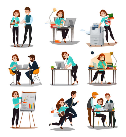 Multitasking geïsoleerde pictogrammen die met jonge onderneemster in werkproces alleen en met haar werknemers vlakke vectorillustratie worden geplaatst