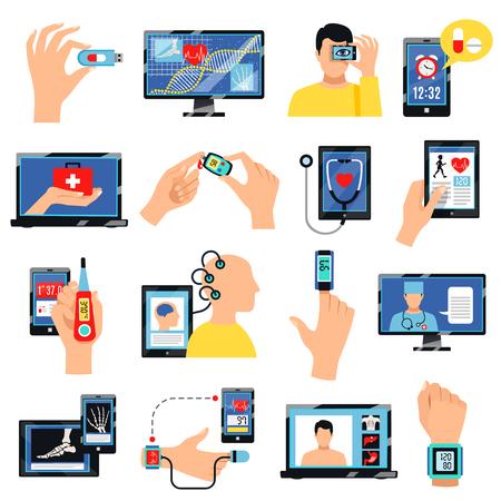 Digitale vlakke pictogrammeninzameling van de gezondheidszorg innovatieve technologie met mobiele apparaten voor zelfzorgpraktijk geïsoleerde vectorillustratie Vector Illustratie