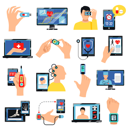 Flache Ikonensammlung der innovativen Technologie des Digital-Gesundheitswesens mit tragbaren Geräten für Selbstpflegepraxis lokalisierte Vektorillustration Vektorgrafik