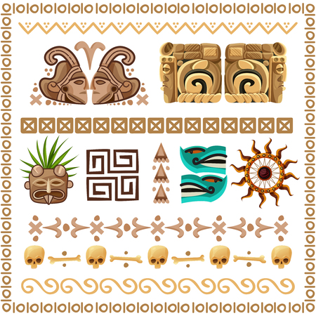 Colored cartoon set of ornaments patterns and decorative elements on ancient mayan culture theme vector illustration