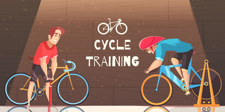 Road circuit cycle racing indoor training with stationary bike trial and sportsman pumping tire vector cartoon illustration Illustration