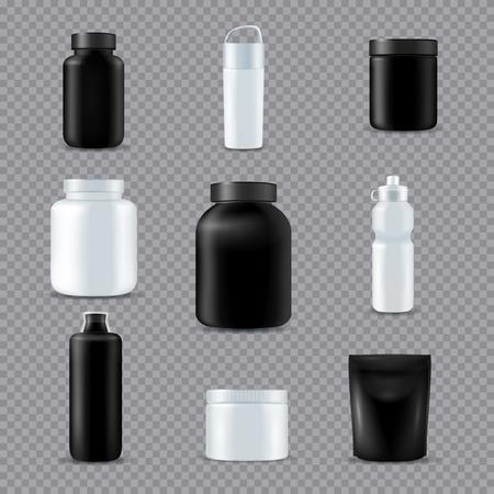 Fitness sport drink supplements nutrition eco bottles  realistic white black set transparent background isolated vector illustration