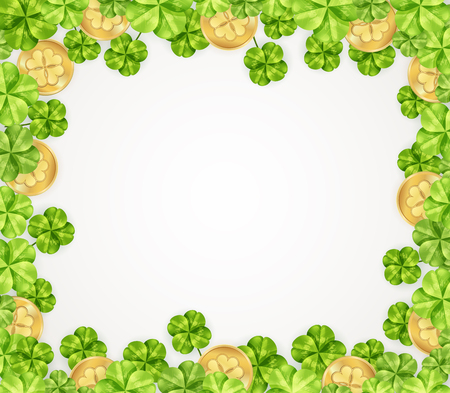 St patricks day festive frame with leaves of clover and golden coins on white background vector illustration