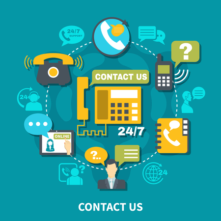 Contact us round composition on turquoise background with customer support 24/7, various communication devices vector illustration