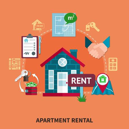 アパート賃貸説明オレンジ色の背景と建築ベクトルイラストの孤立した要素を持つ不動産色の組成物